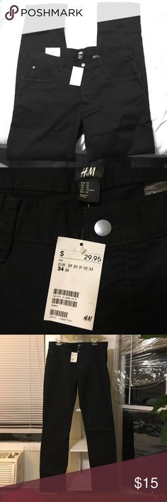 MENS black slim fit straight leg pants. NEW W TAGS Brand new with tags straight leg slim fit pants. Super soft and comfortable-- I love these pants and have them in five colors and need to trim down my closet. Slight stretch H&M Jeans Slim Straight