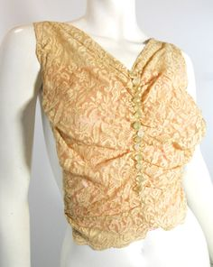 Ecru Lace Bodice Insert with Glass Buttons circa 1930s - Dorothea's Closet Vintage