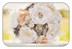 Fabric Bridal Bouquet-Custom. Cream, ivory, champagne, grey, peach and nude. Vintage brooches, pearls and Rhinestones. $299.00, via Etsy.