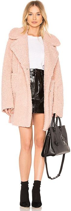 J.O.A. Reversible Shearling Coat. It's blush colored!  And reversible. #coat #winter #fashion #womens #affiliatelink