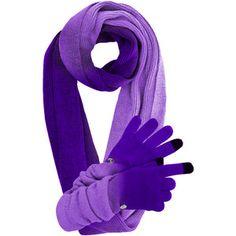 Purple Knit Ombre Scarf & Glove Set