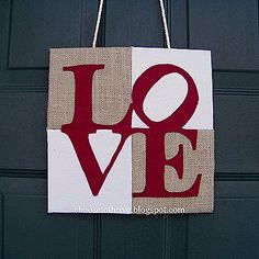 VALENTINE'S DAY DOOR HANGER TUTORIAL -  Talk about a 'make-do for the 21st century!  I totally love this idea to make a front door decor for Valentine's Day!  It's cheap and easy and versatile.  You can easily change color combinations to make a more neutral door hanger.
