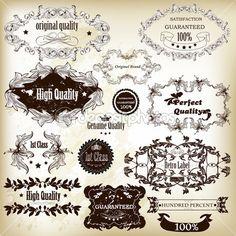 Colección de vector etiquetas caligráficos mejor, original y prem ...