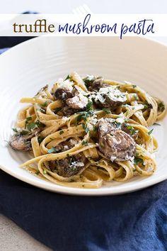 Easy Truffle Mushroom Pasta for Two Truffle Mushroom, Mushroom Pasta, Truffle Cheese, Truffle Fries, Easy Pasta Dishes, Easy Pasta Recipes, Dinner Recipes, Rice Recipes, Stuffed Portabello Mushrooms