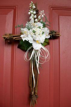 "grapevine wreath flower arrangements | Cross Wreath - 15x9"" Grapevine Easter/Spring/Summer - $29.99 - S I L K ..."