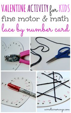 Valentine Activity Lace by Number Card. Great fortune motor skills and number recognition.