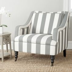 Shop for Safavieh Homer Greyish Blue/ White Stripe Arm Chair. Get free shipping at Overstock.com - Your Online Furniture Outlet Store! Get 5% in rewards with Club O! - 15718140
