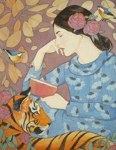 Even the Tiger Stopped to Listen to Her Tale - limited edition print of original mixed media painting by DreamSquirrel on Etsy https://www.etsy.com/uk/listing/477536264/even-the-tiger-stopped-to-listen-to-her