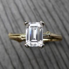 Emerald Cut Forever Brilliant Moissanite Twig Engagement Ring (1ct) from Kristin Coffin Jewelry