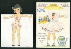 Uncut Happy Birthday Linda Hallmark Paper Doll Greeting Card 1958 | eBay