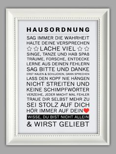 "Originaldruck - ""HAUSORDNUNG"" Kunstdruck - ein Designerstück von Smart-Art-Kunstdrucke bei DaWanda House Rules, Beautiful Homes, Scrapbook, Smart Art, New Homes, Sweet Home, Best Quotes, Interior Design, Hemnes"