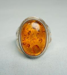 STERLING SILVER 925 VINTAGE ESTATE BALTIC AMBER Jewelry Ring - Size 5