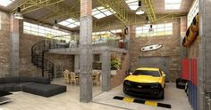 Powerful Rustic Style Home Living Room Underground Garage Design Yellow Car With…