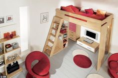 Decorate your room in a new style with murphy bed plans Cama Murphy Ikea, Small Rooms, Small Spaces, Bunk Bed With Slide, Alcove Bed, Mezzanine Bedroom, Hidden Bed, Murphy Bed Plans, Murphy Beds