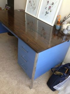 Stupendous Diy Metal Desk Makeover White Gold Wy Living In 2019 Interior Design Ideas Inamawefileorg