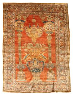 A Persian Tabriz rug BB4741 - by Doris Leslie Blau.  A highly unusual late 19th century Persian Tabriz antique silk rug having an orange-red open field with a one-sided ...