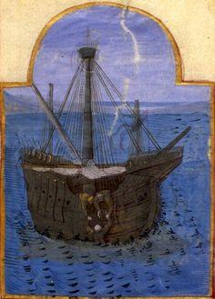 Tanor sauvé par les pêcheurs (f°6) -- «Tristan de Léonois», France, vers 1470 [BNF Ms Fr. 102] -- cote: Français 102