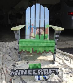 Awesome minecraft lawn chair built for a fundraiser... I wish that I could have this