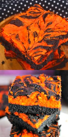 Halloween Cream Cheese Swirl Brownies Halloween Swirl Cream Cheese Brownies have a layer of rich, dark chocolate brownie topped with a layer of orange cheesecake then swirled together for a spooky treat. These are sure to be a perfect dessert treat for ev Halloween Brownies, Halloween Snacks, Comida De Halloween Ideas, Dessert Halloween, Halloween Cake Pops, Hallowen Food, Halloween Dinner, Halloween Goodies, Halloween Halloween