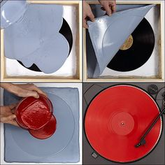 Duplicate a vinyl record tutorial.  I shall be doing this and decorating a wall with them for my apartment!