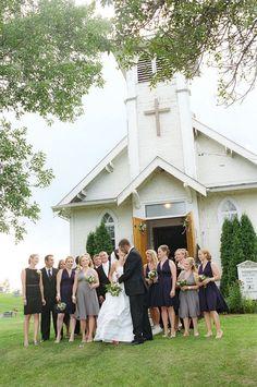 True Country Wedding: little church ceremony, big barn reception