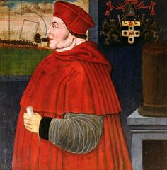 Thomas WOLSEY. Roman Catholic Cardinal. Thomas Cromwell's employer and Lord Chancellor to Henry the VIII until Henry wants a divorce to marry Ann Boleyn. Portrait of Thomas Wolsey (c.1475-1530) (oil on panel) (Oxford, magdalen College)