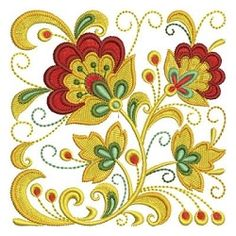 Russian Folk Art Khokhloma 9 - 4x4 | Quilt | Machine Embroidery Designs | SWAKembroidery.com Ace Points Embroidery