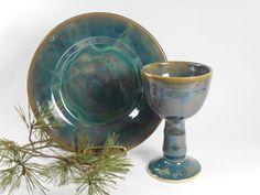 Pottery communion set  chalice and paten set  by TamarackStoneware