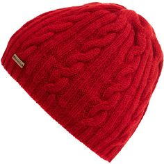 5d5447e5f54 Barbour Red Cable Knit Beanie ( 20) ❤ liked on Polyvore featuring  accessories