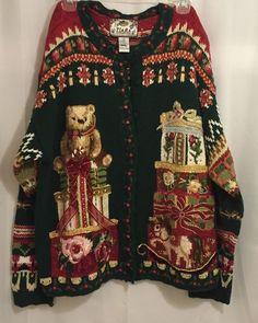 Ugly Christmas Sweater Cardigan Tiara International Size L Teddy Bear Gifts  #TiaraInternational #Cardigan