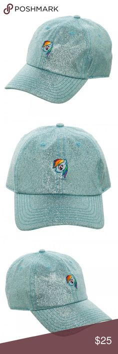 My Little Pony Rainbow Dash Blue GLITTER Dad Hat This is for 1 My Little Pony themed baseball / dad style adjustable hat.   This very nice hat is done in a glittery fabric.  It features Rainbow Dash on the front, and near the back has her symbol.  Size adjustable.  Officially Licensed, made by Bioworld.  Size:  Adult - Size Adjustable - One Size Fits Most Brand: Bioworld Color: Blue - Glittery all over! Year: 2017  Meant for Ages 14 and Up!   CONDITION - New  Check my Posh for more My Little…