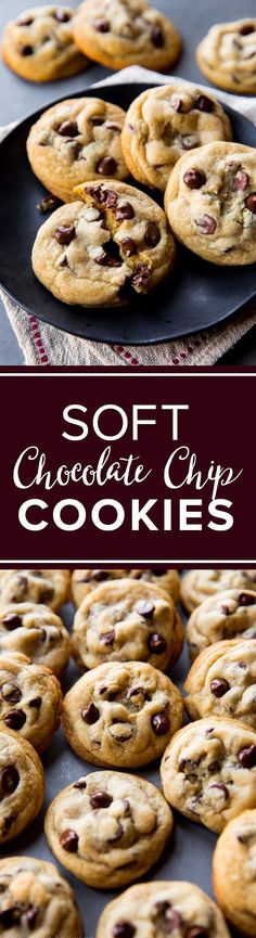 Soft chewy and thick chocolate chip cookies with a secret ingredient. The BEST chocolate chip cookies recipe http://sallysbakingaddiction.com/2012/08/06/the-chocolate-chip-cookie/
