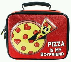 EmojiNation Pizza is My Boyfriend Insulated Lunch Bag - Red Glitter