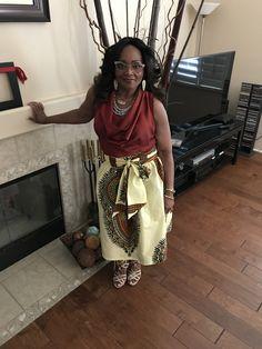 Naya African Print Dashiki Midi Skirt with Sash (Cream/Maroon)