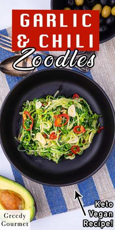 Looking for a healthy alternative to pasta and noodles? This Garlic & Chili Courgetti is a perfect choice for you. This is an easy and super quick recipe that takes just minutes to make. The ingredients are courgettes, olive oil, garlic, red chili, salt and pepper. Make this healthy and tasty recipe with your family! #courgette #courgetterecipe #pasta #healthypasta #healthynoodles #noodles #tastyrecipe #healthyrecipe #healthy #vegan #vegetarian #quickrecipes #easyrecipes Healthy Pastas, Healthy Desserts, Healthy Recipes, Quick Recipes, Gourmet Recipes, Tasty, Yummy Food, English Food, Curry Recipes