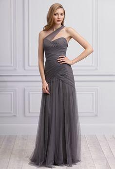 Brides: Monique Lhuillier. Slate one-shoulder tulle gown with asymmetric drape.��More Details From Monique Lhuillier Bridesmaids