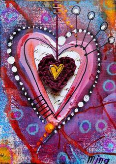 Bonjour Pour l'anniversaire d'Izhïa, j'ai réalisé cette carte avec un petit coeur d'amour (elle adore !!!) que vous pouvez trouver dans ma boutique : Voici le tutoriel. Alors il vous faut : - un petit coeur au crochet - un morceau papier canson de format...