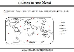 oceans of the world worksheets | Oceans of the World colouring and activity sheet
