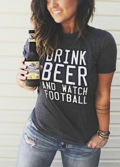 FREE SHIPPING- Drink Beer And Watch Football, Football shirt, Oversized Shirt, Slouchy Tee (Put size in message to seller section)