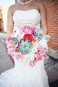 Coral and Mint Texas Wedding Wedding Real Weddings Photos on WeddingWire Wedding Bouquets Pictures, Wedding Photos, Wedding Stuff, Aqua Wedding, Wedding Flowers, Wedding 2015, Peony Flower Arrangements, Alternative Bouquet, Perfect Wedding