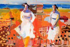 Linda Christensen, abstract figurative painting, Journal 40x60