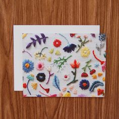 Happy Cactus Designs Hand Embroidered Photo Stationery - Rainbow Flowers