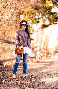 cute & little | petite fashion blog | peplum ruffle hem sweater, distressed jeans, leopard print flats, chloe faye small bag | fall winter outfit