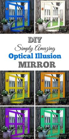Woodworking Patterns Make your own optical illusion mirror for the home or garden. - How to make an optical illusion garden mirror for a really cool effect in your yard. This inexpensive project can be made with thrift shop materials. Garden Yard Ideas, Garden Projects, Garden Tips, Crafty Projects, School Projects, Wood Projects, Woodworking Patterns, Woodworking Plans, Woodworking Magazine