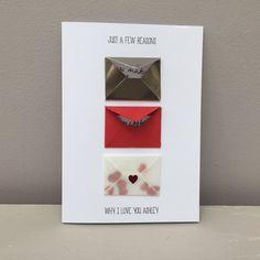 Luxury Personalised Reasons Why I Love You Handmade Card - boyfriend / girlfriend / wife / partner