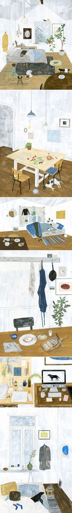 Series of paintings by Fumi Koike including Warm Room, Summer Day, Back to Sleep, Morning, and Workspace.  Fumi Koike is an illustrator based in Tokyo, Japan.   http://fumikoike.blogspot.ae/