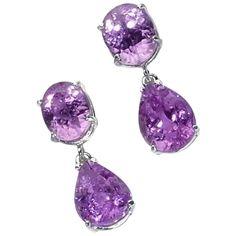 Pink Kunzite Dangle Earrings For Sale
