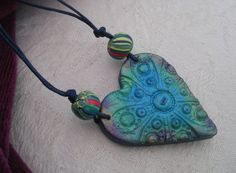 Turquoise blue and green heart pendant pearly by LiloLilsEmporium