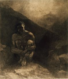 Odilon Redon - Primitive Man, 1872, Various charcoals, with touches of black chalk... | The Art Institute of Chicago