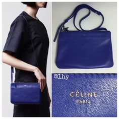 "CELINE SMALL LAMBSKIN TRIO CROSSBODY BAG Authentic Celine Small Trio Bag. Approx 8.5""Wx6""Hx1.5""D. Adjustable shoulder strap drop 21"". I believe the color is ""indigo"" blue. Smooth lambskin leather, gold hardware. Made in Italy. 3 pouches snap together. Zip top closure. Grey textile lining. Logo on front. Excellent pre-owned condition. Clean interior. Exterior shows minor wear from normal use as expected with smooth, soft lambskin. No rips, tears or stains. Dustbag not included. ❌❌NO TRADES NO…"